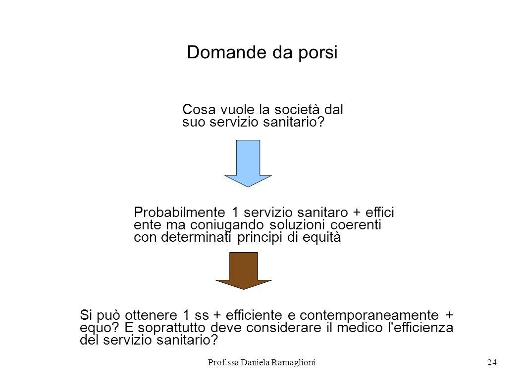 Prof.ssa Daniela Ramaglioni24 Domande da porsi Cosa vuole la società dal suo servizio sanitario? Probabilmente 1 servizio sanitaro + effici ente ma co