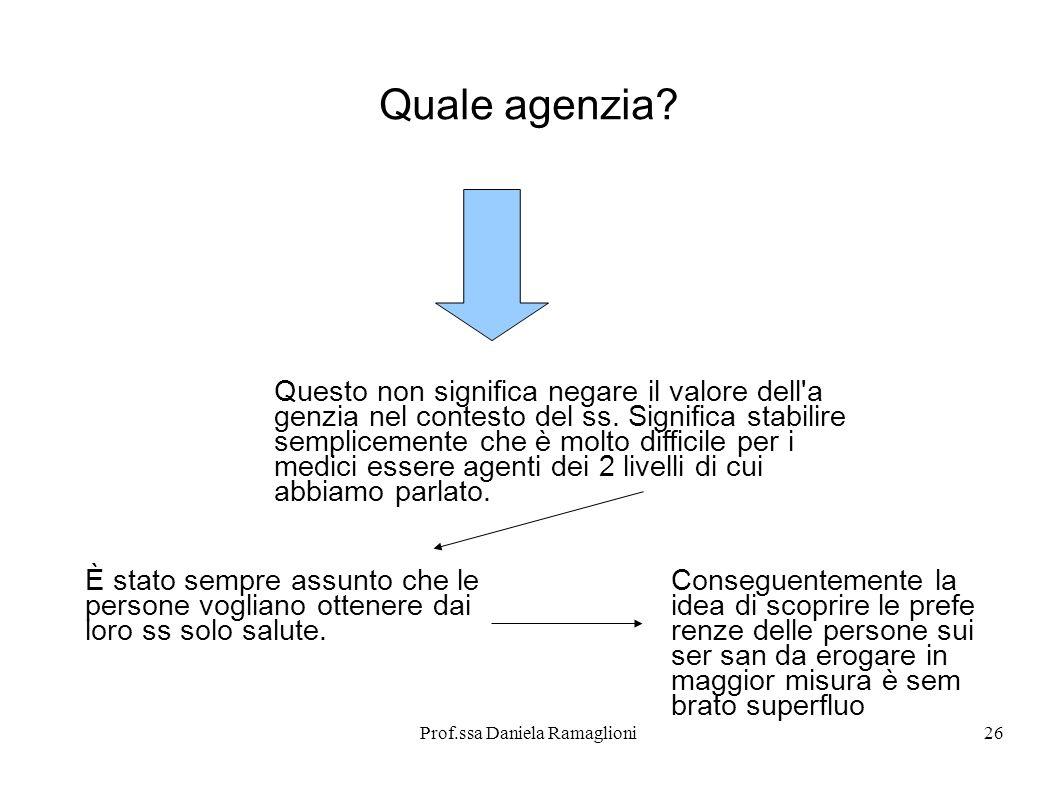 Prof.ssa Daniela Ramaglioni26 Quale agenzia? Questo non significa negare il valore dell'a genzia nel contesto del ss. Significa stabilire semplicement
