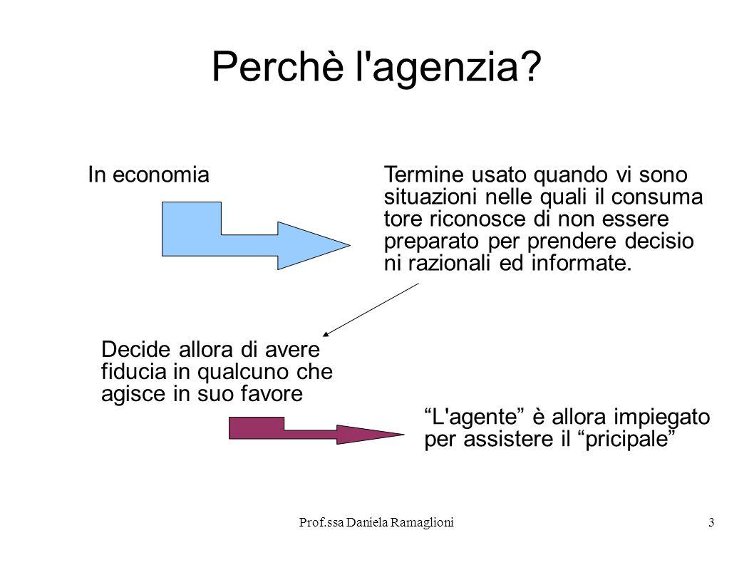 Prof.ssa Daniela Ramaglioni3 Perchè l'agenzia? In economiaTermine usato quando vi sono situazioni nelle quali il consuma tore riconosce di non essere