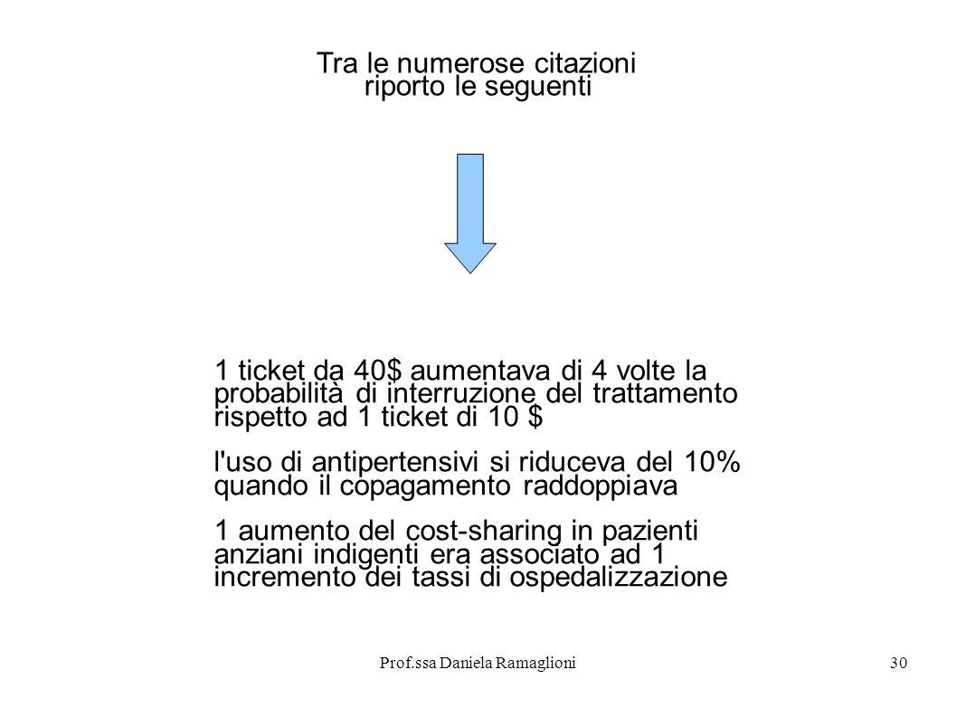 Prof.ssa Daniela Ramaglioni30 Tra le numerose citazioni riporto le seguenti 1 ticket da 40$ aumentava di 4 volte la probabilità di interruzione del tr