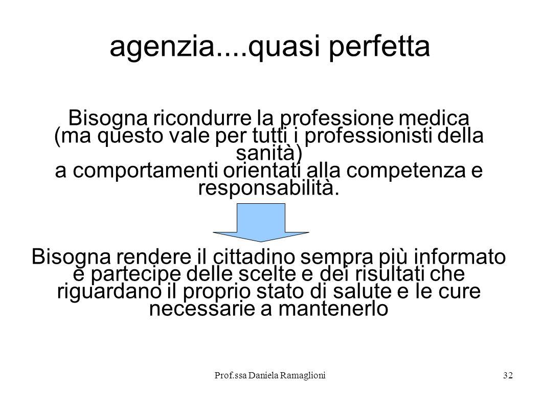 Prof.ssa Daniela Ramaglioni32 agenzia....quasi perfetta Bisogna ricondurre la professione medica (ma questo vale per tutti i professionisti della sani