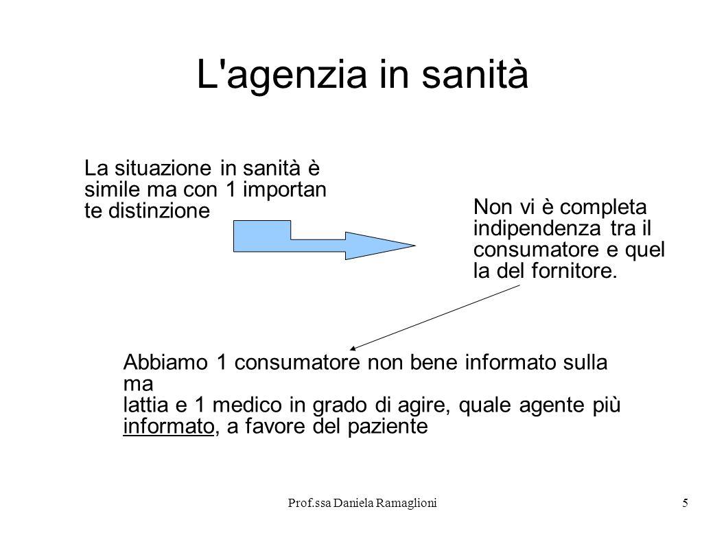 Prof.ssa Daniela Ramaglioni5 L'agenzia in sanità La situazione in sanità è simile ma con 1 importan te distinzione Non vi è completa indipendenza tra