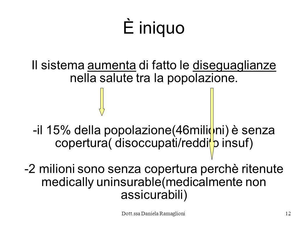 Dott.ssa Daniela Ramaglioni12 È iniquo Il sistema aumenta di fatto le diseguaglianze nella salute tra la popolazione. -il 15% della popolazione(46mili