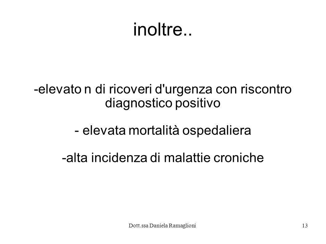 Dott.ssa Daniela Ramaglioni13 inoltre.. -elevato n di ricoveri d'urgenza con riscontro diagnostico positivo - elevata mortalità ospedaliera -alta inci
