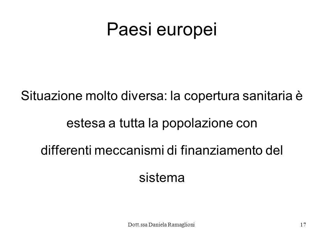 Dott.ssa Daniela Ramaglioni17 Paesi europei Situazione molto diversa: la copertura sanitaria è estesa a tutta la popolazione con differenti meccanismi