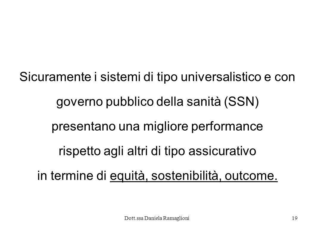 Dott.ssa Daniela Ramaglioni19 Sicuramente i sistemi di tipo universalistico e con governo pubblico della sanità (SSN) presentano una migliore performa