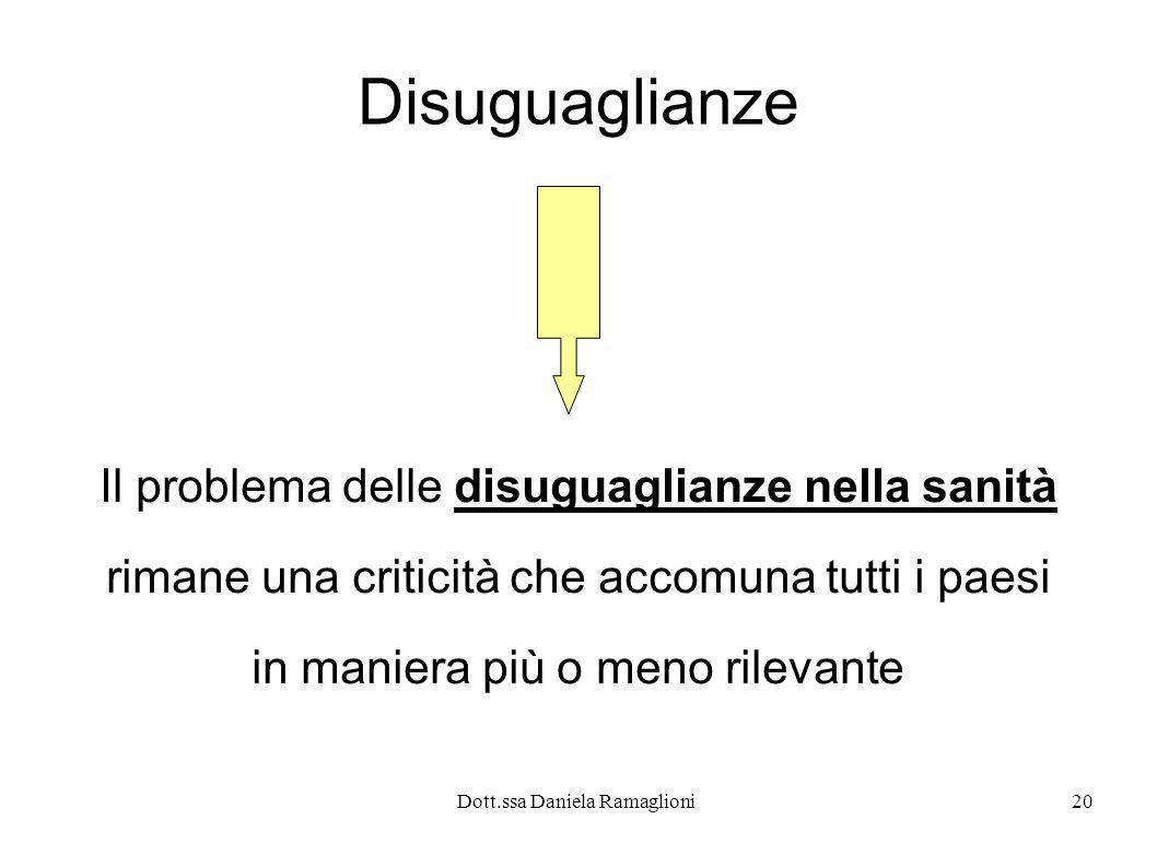 Dott.ssa Daniela Ramaglioni20 Disuguaglianze Il problema delle disuguaglianze nella sanità rimane una criticità che accomuna tutti i paesi in maniera