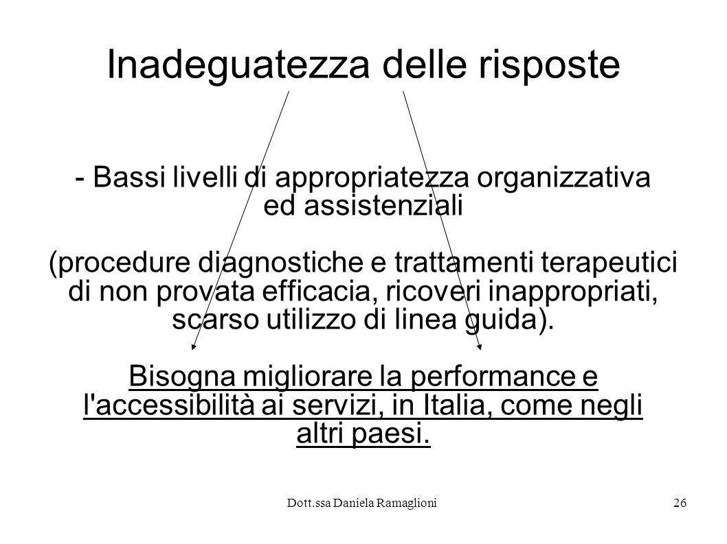 Dott.ssa Daniela Ramaglioni26 Inadeguatezza delle risposte - Bassi livelli di appropriatezza organizzativa ed assistenziali (procedure diagnostiche e