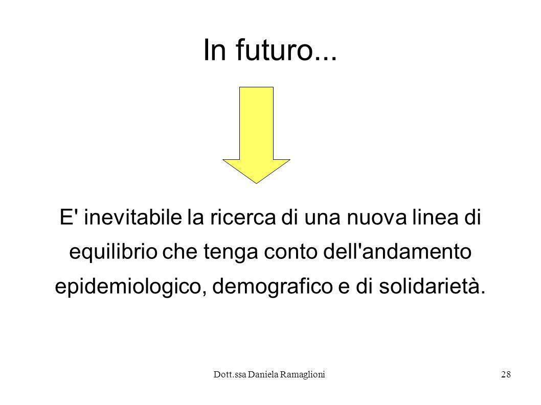 Dott.ssa Daniela Ramaglioni28 In futuro... E' inevitabile la ricerca di una nuova linea di equilibrio che tenga conto dell'andamento epidemiologico, d