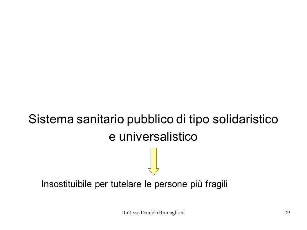 Dott.ssa Daniela Ramaglioni29 Sistema sanitario pubblico di tipo solidaristico e universalistico Insostituibile per tutelare le persone più fragili