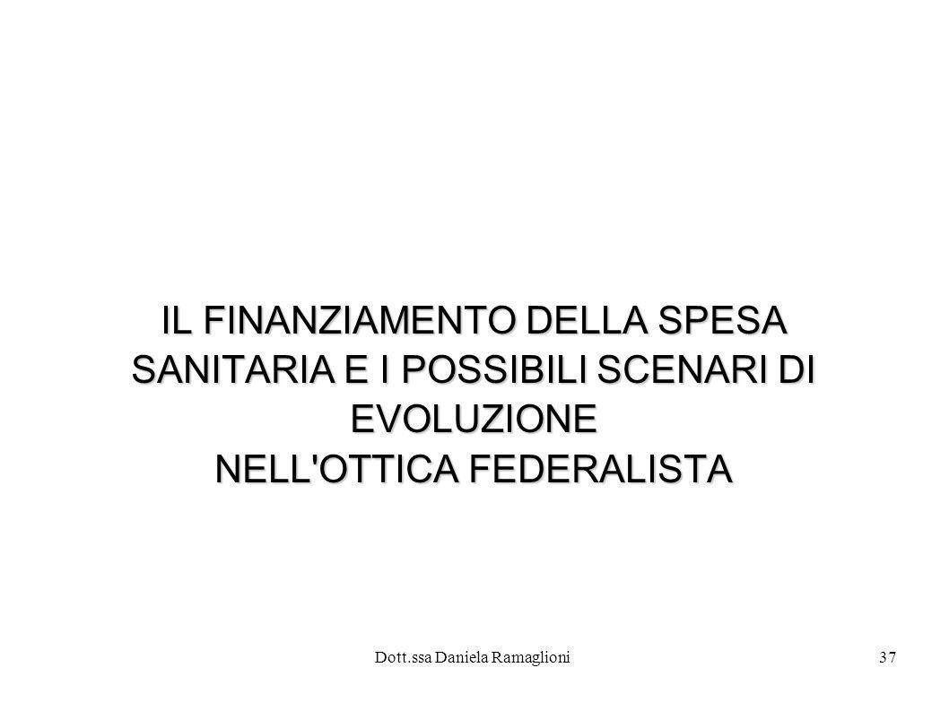 Dott.ssa Daniela Ramaglioni37 IL FINANZIAMENTO DELLA SPESA SANITARIA E I POSSIBILI SCENARI DI EVOLUZIONE NELL'OTTICA FEDERALISTA