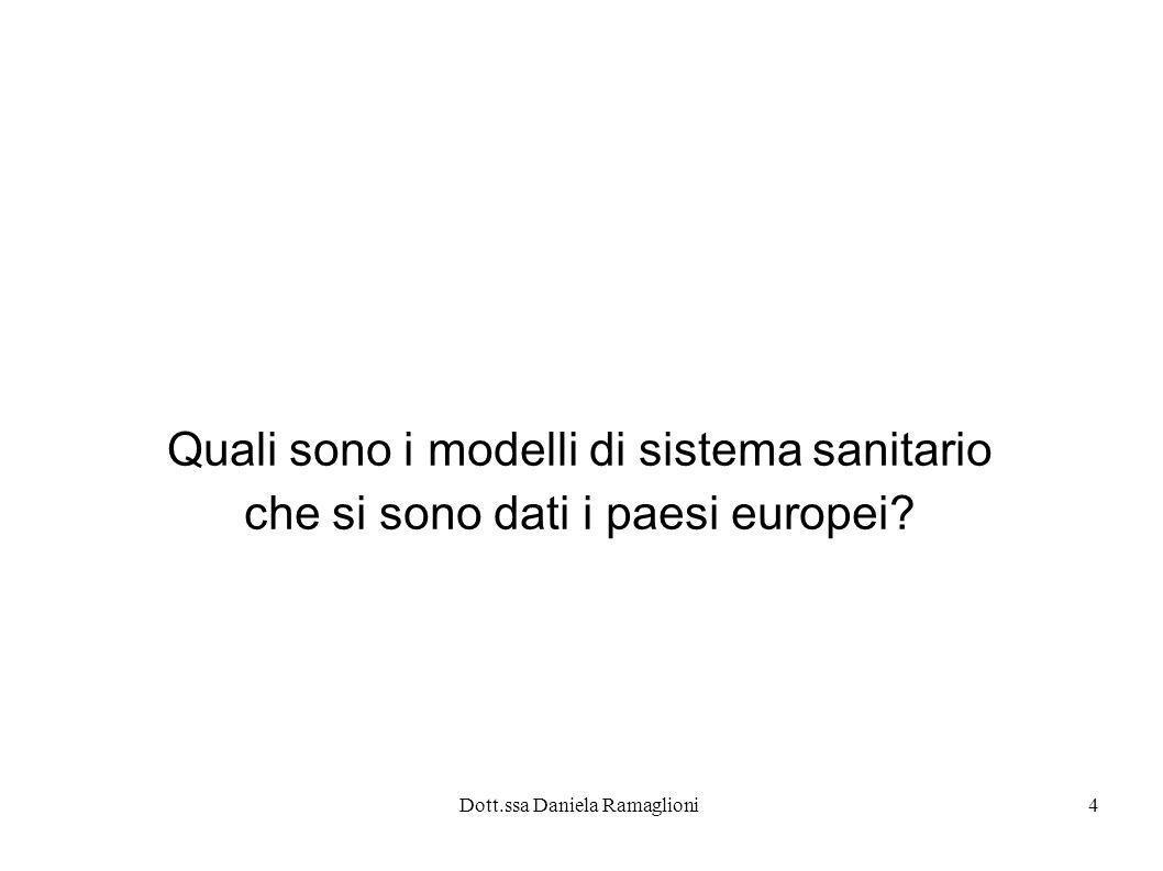 Dott.ssa Daniela Ramaglioni4 Quali sono i modelli di sistema sanitario che si sono dati i paesi europei?