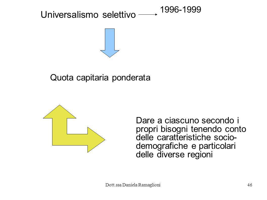 Dott.ssa Daniela Ramaglioni46 Universalismo selettivo Quota capitaria ponderata Dare a ciascuno secondo i propri bisogni tenendo conto delle caratteri
