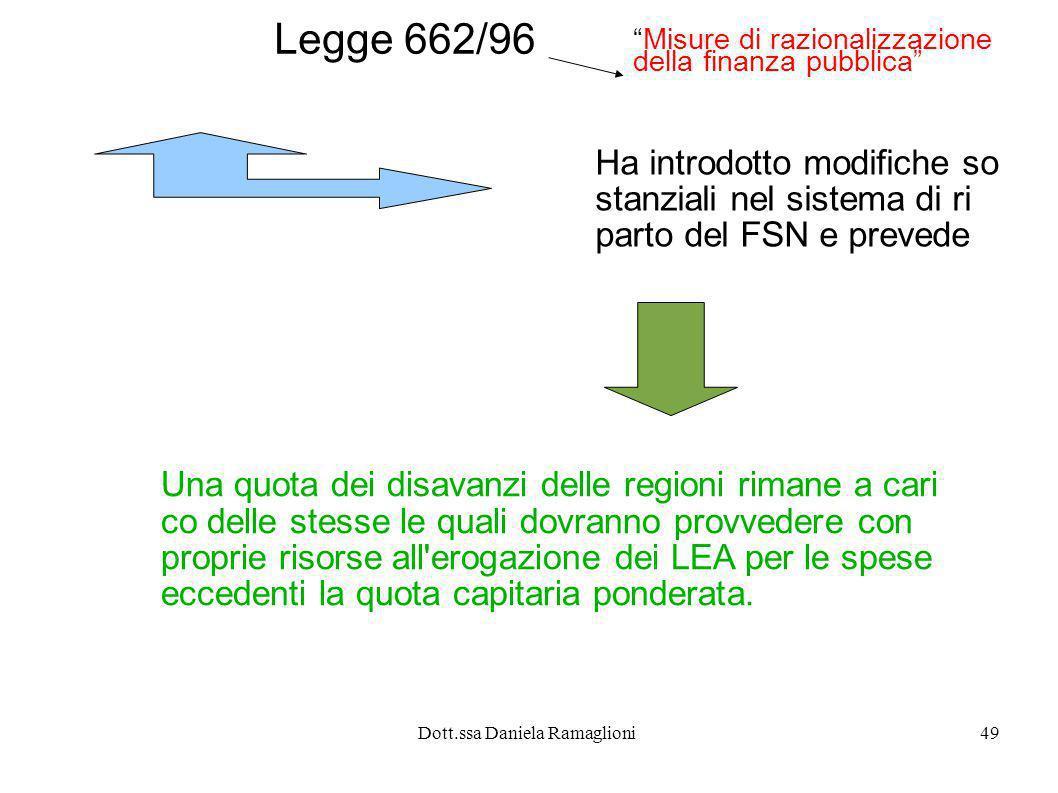 Dott.ssa Daniela Ramaglioni49 Legge 662/96 Ha introdotto modifiche so stanziali nel sistema di ri parto del FSN e prevede Una quota dei disavanzi dell