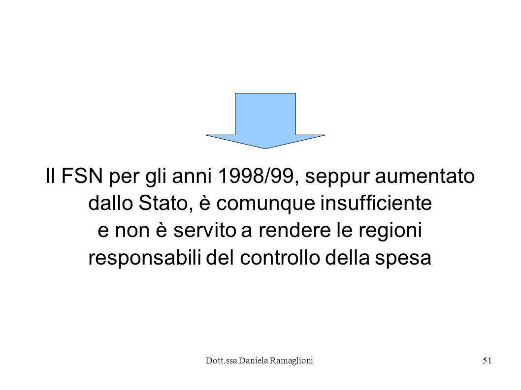 Dott.ssa Daniela Ramaglioni51 Il FSN per gli anni 1998/99, seppur aumentato dallo Stato, è comunque insufficiente e non è servito a rendere le regioni