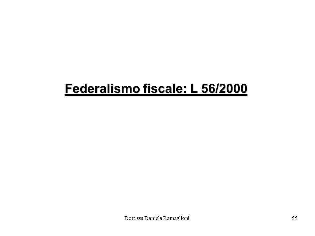 Dott.ssa Daniela Ramaglioni55 Federalismo fiscale: L 56/2000