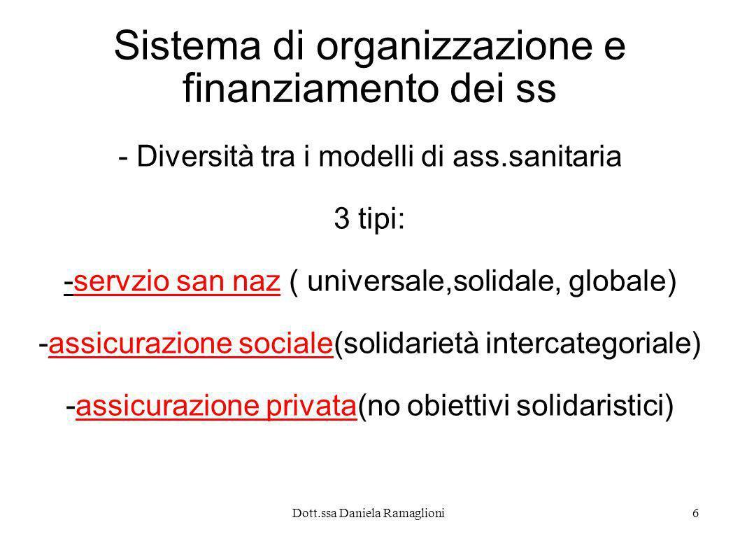 Dott.ssa Daniela Ramaglioni6 Sistema di organizzazione e finanziamento dei ss - Diversità tra i modelli di ass.sanitaria 3 tipi: -servzio san naz ( un
