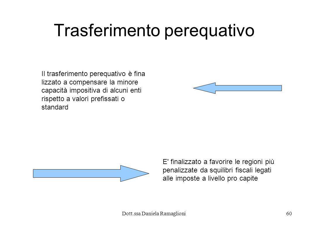 Dott.ssa Daniela Ramaglioni60 Trasferimento perequativo Il trasferimento perequativo è fina lizzato a compensare la minore capacità impositiva di alcu