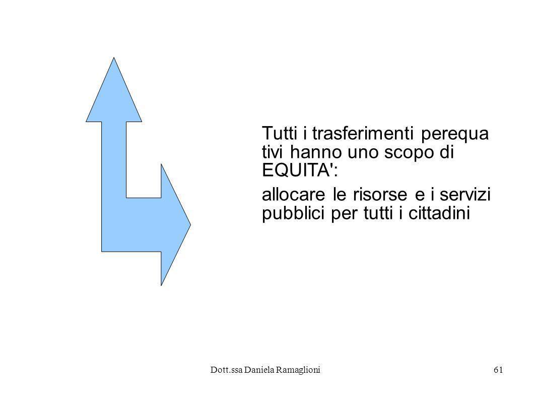 Dott.ssa Daniela Ramaglioni61 Tutti i trasferimenti perequa tivi hanno uno scopo di EQUITA': allocare le risorse e i servizi pubblici per tutti i citt