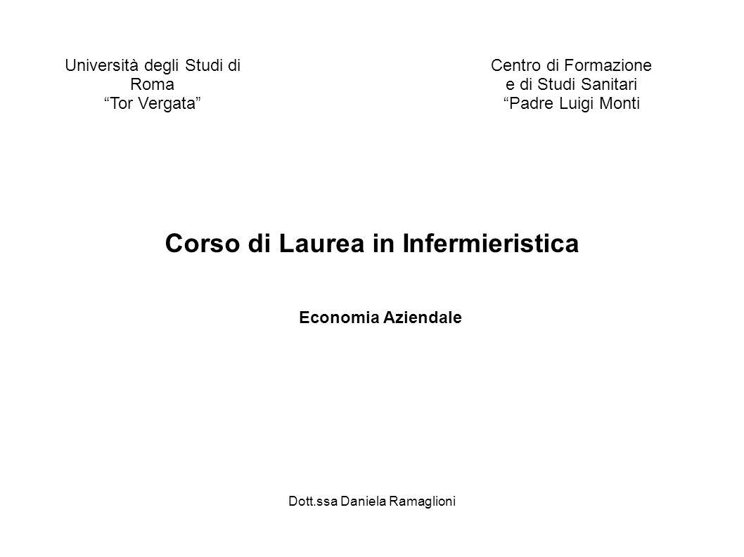Università degli Studi di Roma Tor Vergata Centro di Formazione e di Studi Sanitari Padre Luigi Monti Dott.ssa Daniela Ramaglioni Economia Aziendale C