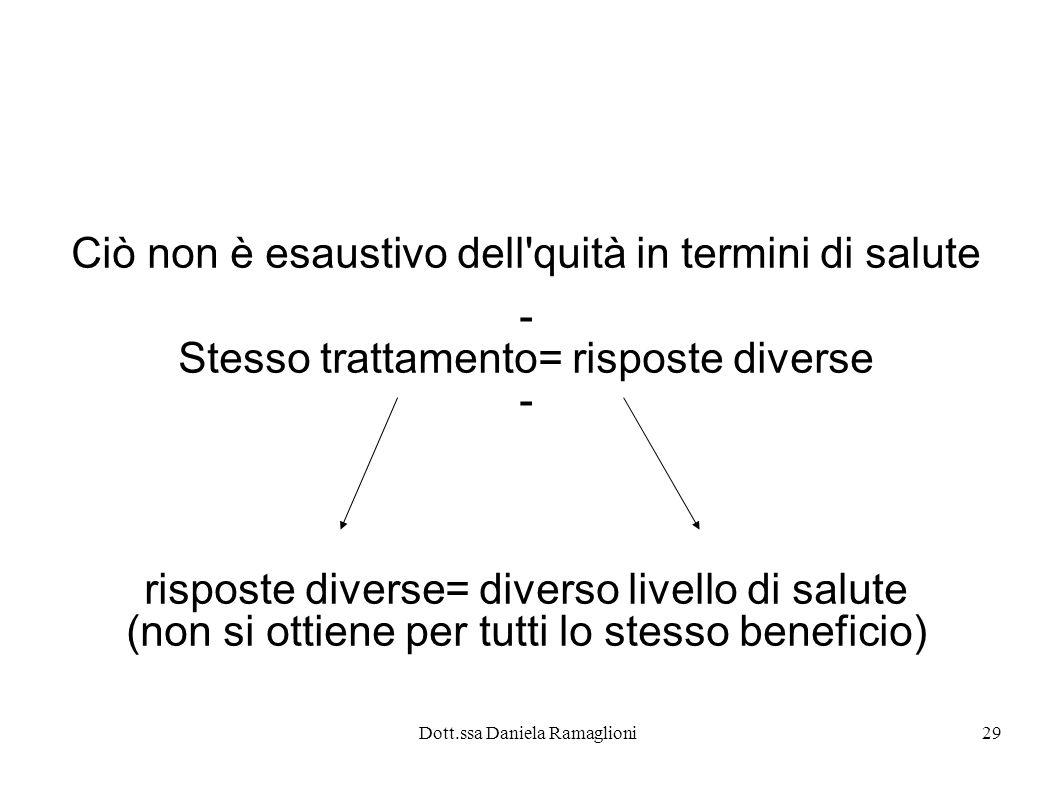 Dott.ssa Daniela Ramaglioni29 Ciò non è esaustivo dell'quità in termini di salute - Stesso trattamento= risposte diverse - risposte diverse= diverso l