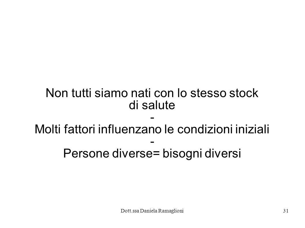 Dott.ssa Daniela Ramaglioni31 Non tutti siamo nati con lo stesso stock di salute - Molti fattori influenzano le condizioni iniziali - Persone diverse=