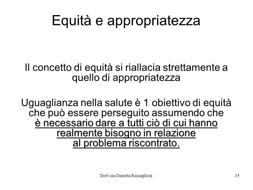 Dott.ssa Daniela Ramaglioni35 Equità e appropriatezza Il concetto di equità si riallacia strettamente a quello di appropriatezza Uguaglianza nella sal