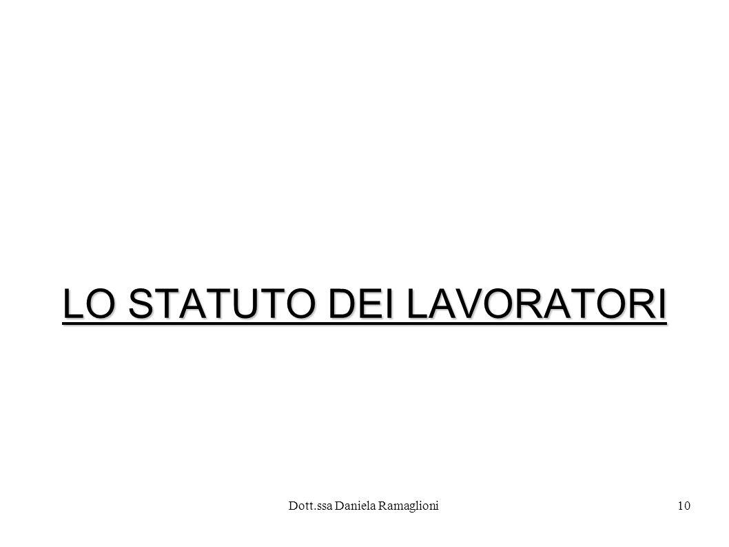 Dott.ssa Daniela Ramaglioni10 LO STATUTO DEI LAVORATORI