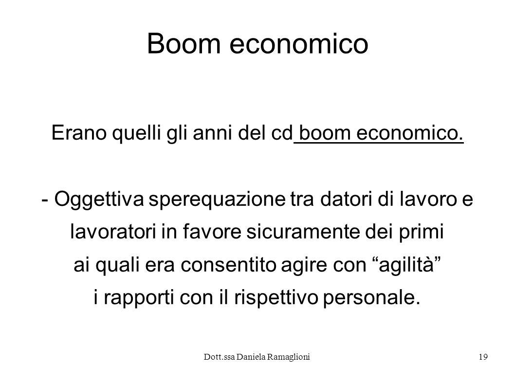 Dott.ssa Daniela Ramaglioni19 Boom economico Erano quelli gli anni del cd boom economico.
