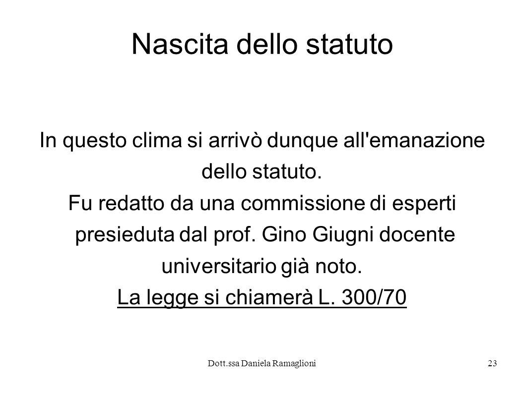 Dott.ssa Daniela Ramaglioni23 Nascita dello statuto In questo clima si arrivò dunque all emanazione dello statuto.