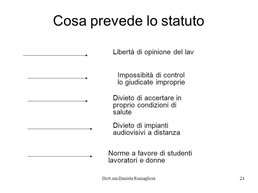 Dott.ssa Daniela Ramaglioni24 Cosa prevede lo statuto Libertà di opinione del lav Impossibità di control lo giudicate improprie Divieto di accertare in proprio condizioni di salute Divieto di impianti audiovisivi a distanza Norme a favore di studenti lavoratori e donne