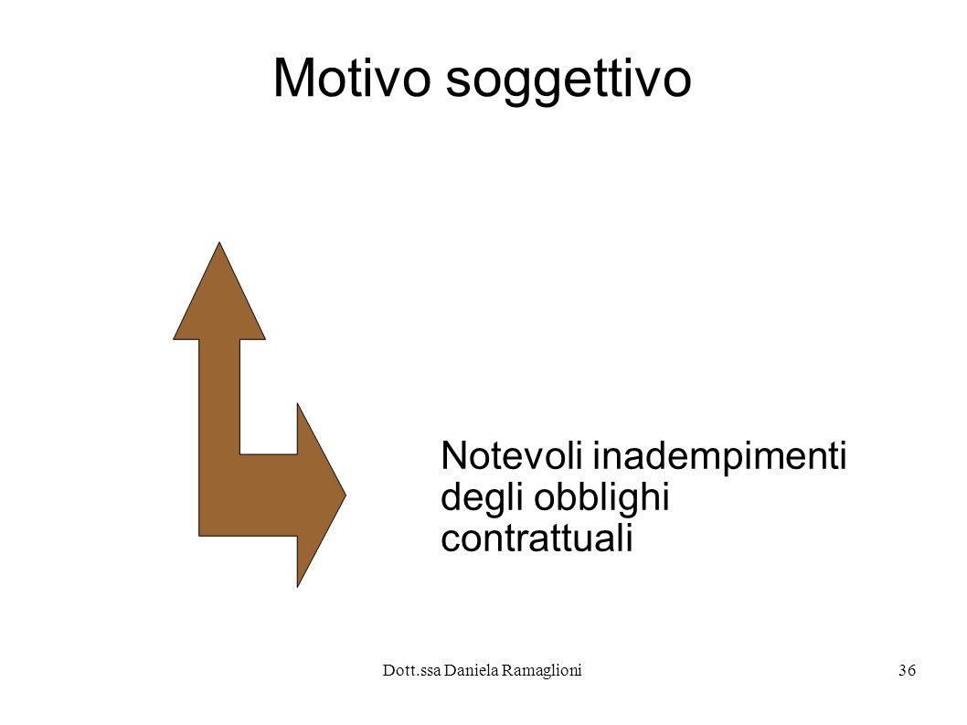 Dott.ssa Daniela Ramaglioni36 Motivo soggettivo Notevoli inadempimenti degli obblighi contrattuali
