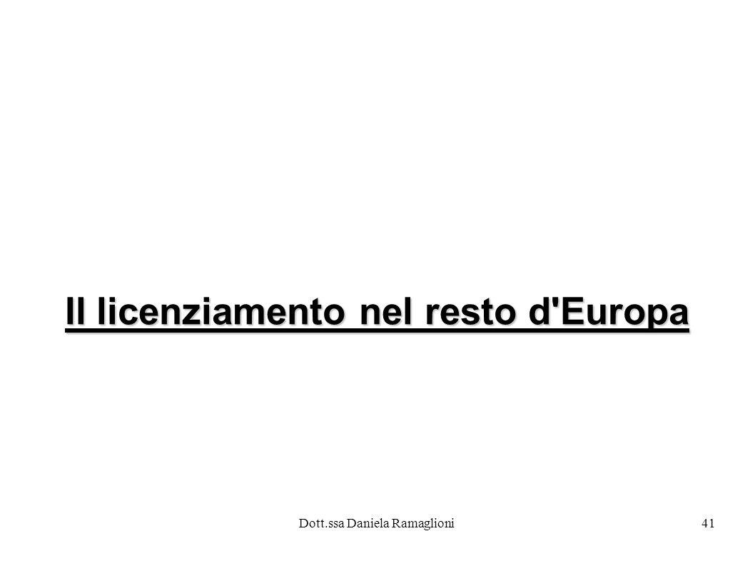 Dott.ssa Daniela Ramaglioni41 Il licenziamento nel resto d Europa