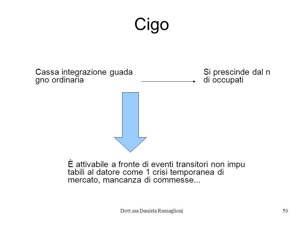 Dott.ssa Daniela Ramaglioni50 Cigo Cassa integrazione guada gno ordinaria È attivabile a fronte di eventi transitori non impu tabili al datore come 1 crisi temporanea di mercato, mancanza di commesse...