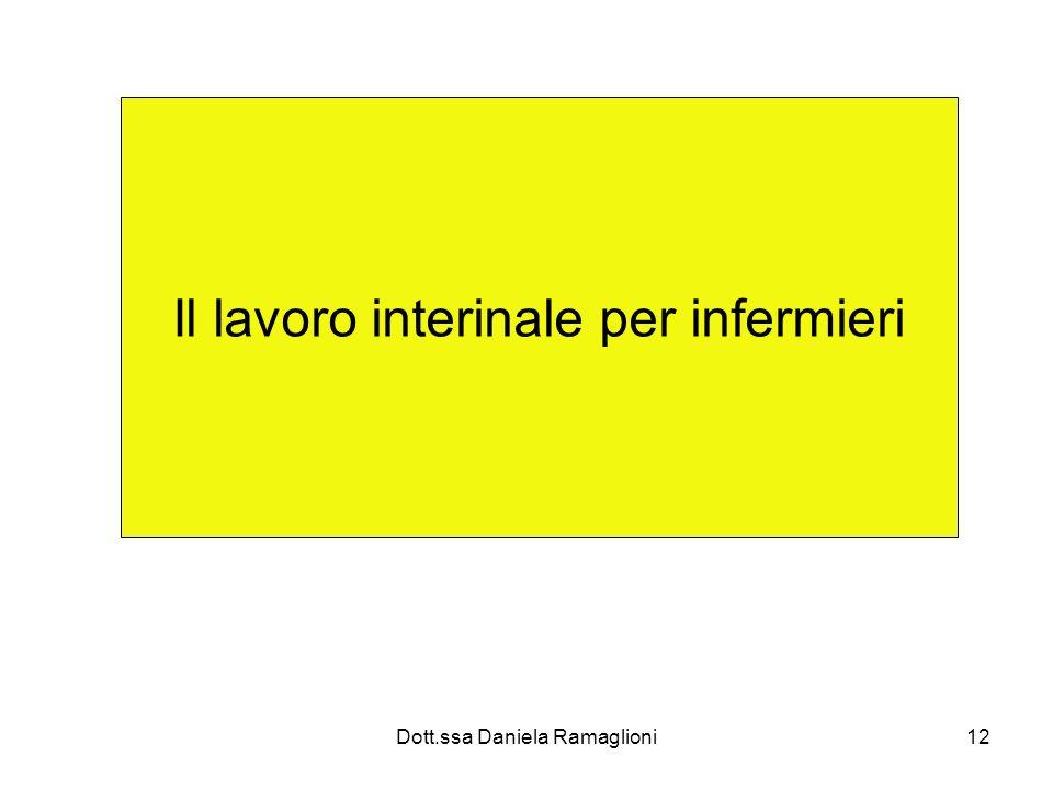 Dott.ssa Daniela Ramaglioni12 Il lavoro interinale per infermieri