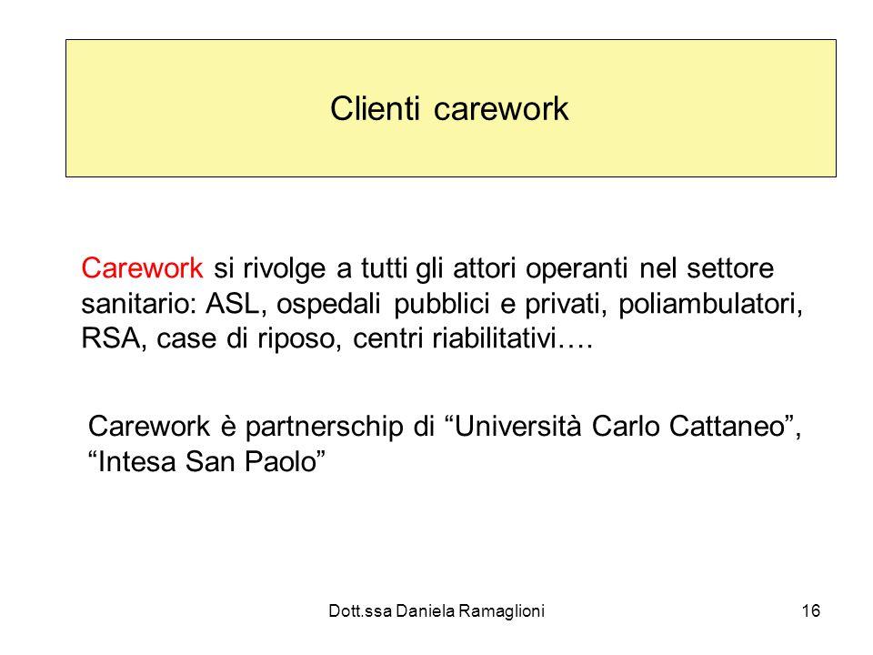 Dott.ssa Daniela Ramaglioni16 Clienti carework Carework si rivolge a tutti gli attori operanti nel settore sanitario: ASL, ospedali pubblici e privati