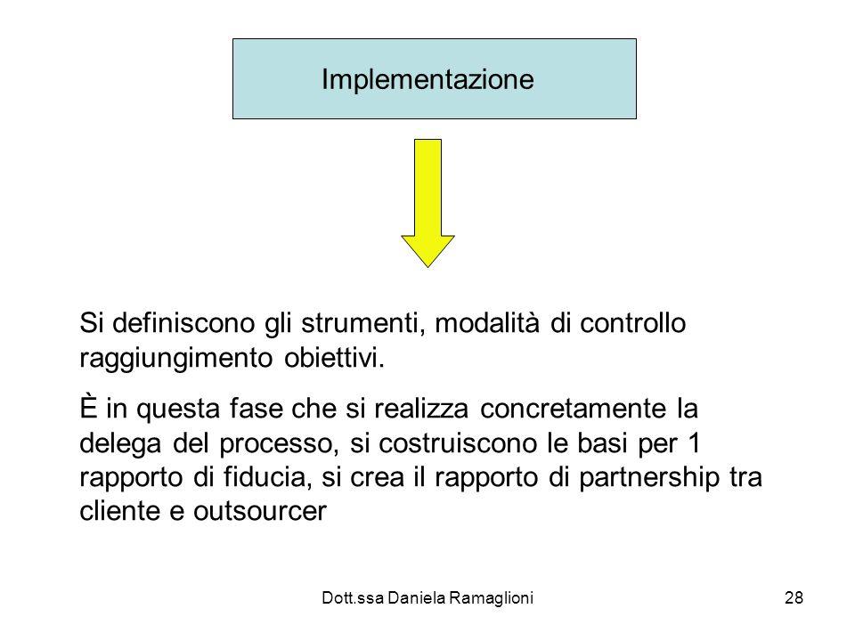 Dott.ssa Daniela Ramaglioni28 Implementazione Si definiscono gli strumenti, modalità di controllo raggiungimento obiettivi.