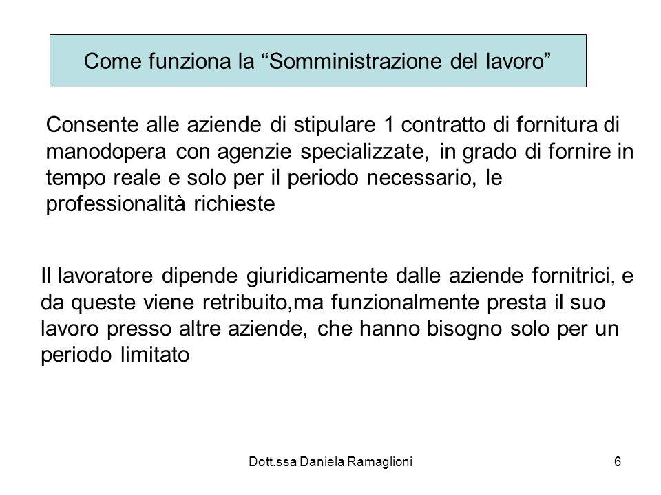 Dott.ssa Daniela Ramaglioni6 Come funziona la Somministrazione del lavoro Consente alle aziende di stipulare 1 contratto di fornitura di manodopera co