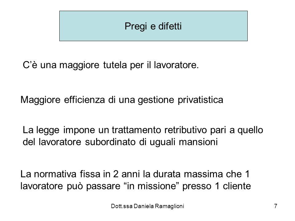 Dott.ssa Daniela Ramaglioni7 Pregi e difetti Cè una maggiore tutela per il lavoratore. Maggiore efficienza di una gestione privatistica La legge impon