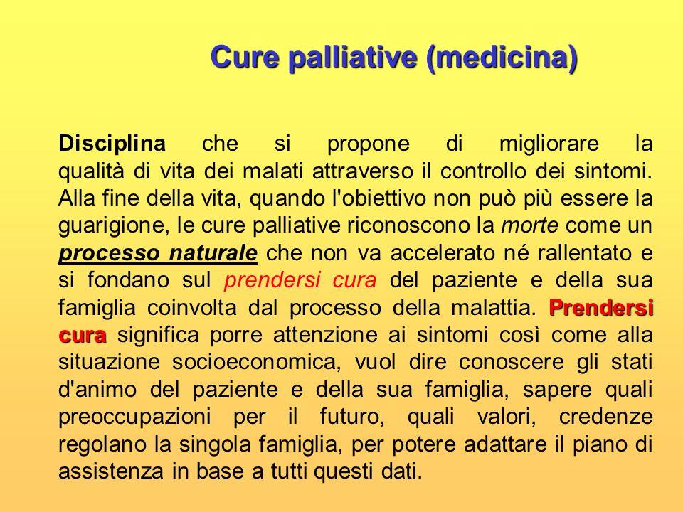 Cure palliative (medicina) Cure palliative (medicina). Prendersi cura Disciplina che si propone di migliorare la qualità di vita dei malati attraverso