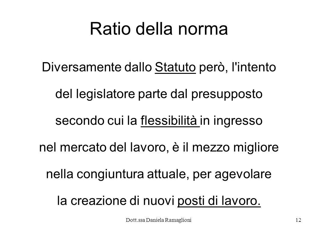 Dott.ssa Daniela Ramaglioni12 Ratio della norma Diversamente dallo Statuto però, l'intento del legislatore parte dal presupposto secondo cui la flessi