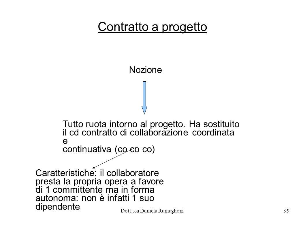 Dott.ssa Daniela Ramaglioni35 Contratto a progetto Nozione Tutto ruota intorno al progetto. Ha sostituito il cd contratto di collaborazione coordinata