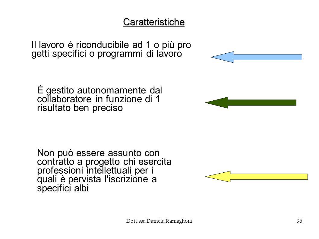 Dott.ssa Daniela Ramaglioni36 Caratteristiche Il lavoro è riconducibile ad 1 o più pro getti specifici o programmi di lavoro È gestito autonomamente d