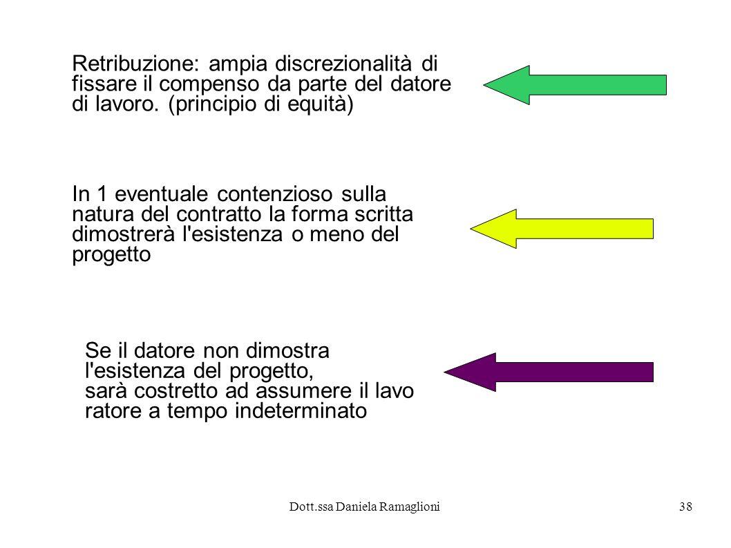 Dott.ssa Daniela Ramaglioni38 Retribuzione: ampia discrezionalità di fissare il compenso da parte del datore di lavoro. (principio di equità) In 1 eve