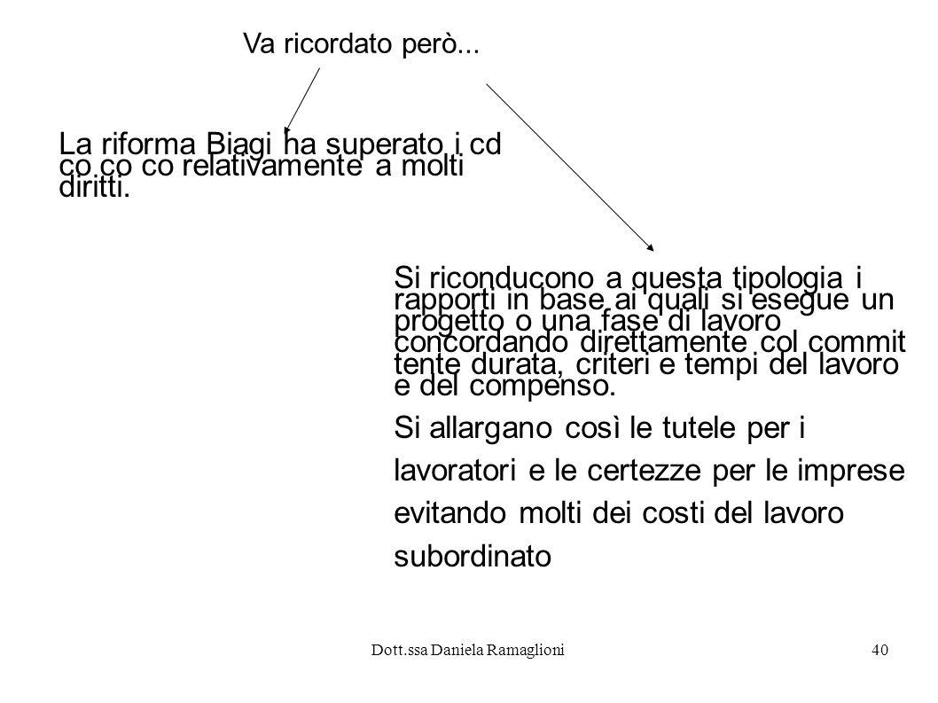 Dott.ssa Daniela Ramaglioni40 Va ricordato però... La riforma Biagi ha superato i cd co co co relativamente a molti diritti. Si riconducono a questa t