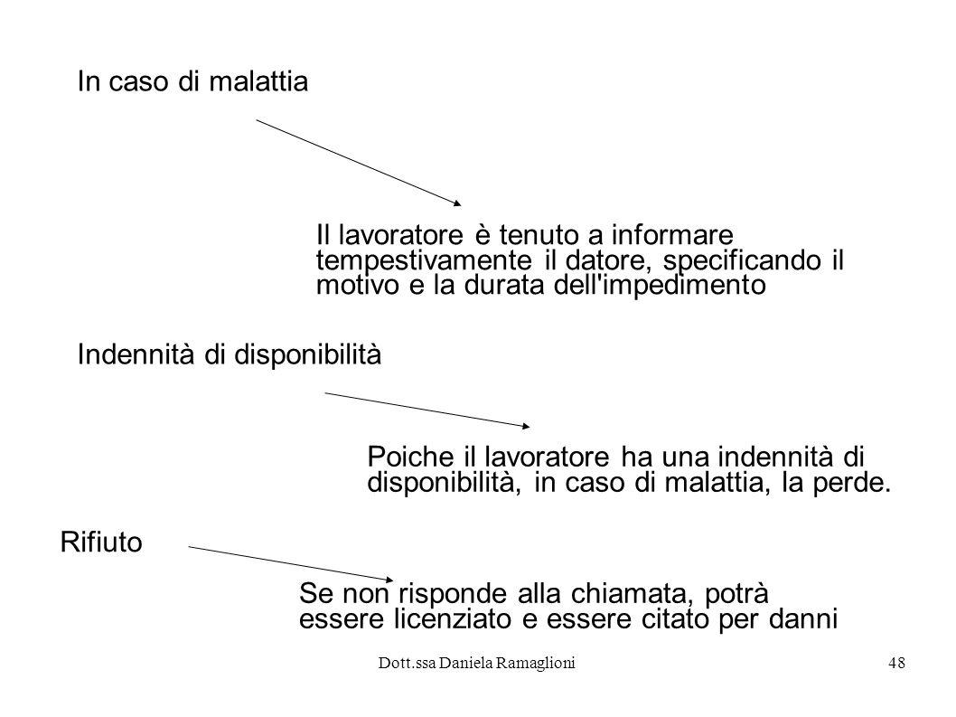 Dott.ssa Daniela Ramaglioni48 In caso di malattia Il lavoratore è tenuto a informare tempestivamente il datore, specificando il motivo e la durata del