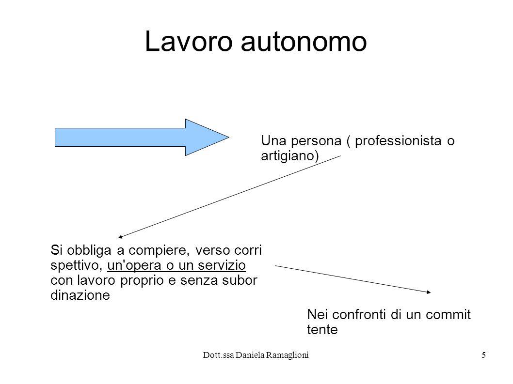 Dott.ssa Daniela Ramaglioni5 Lavoro autonomo Una persona ( professionista o artigiano) Si obbliga a compiere, verso corri spettivo, un'opera o un serv