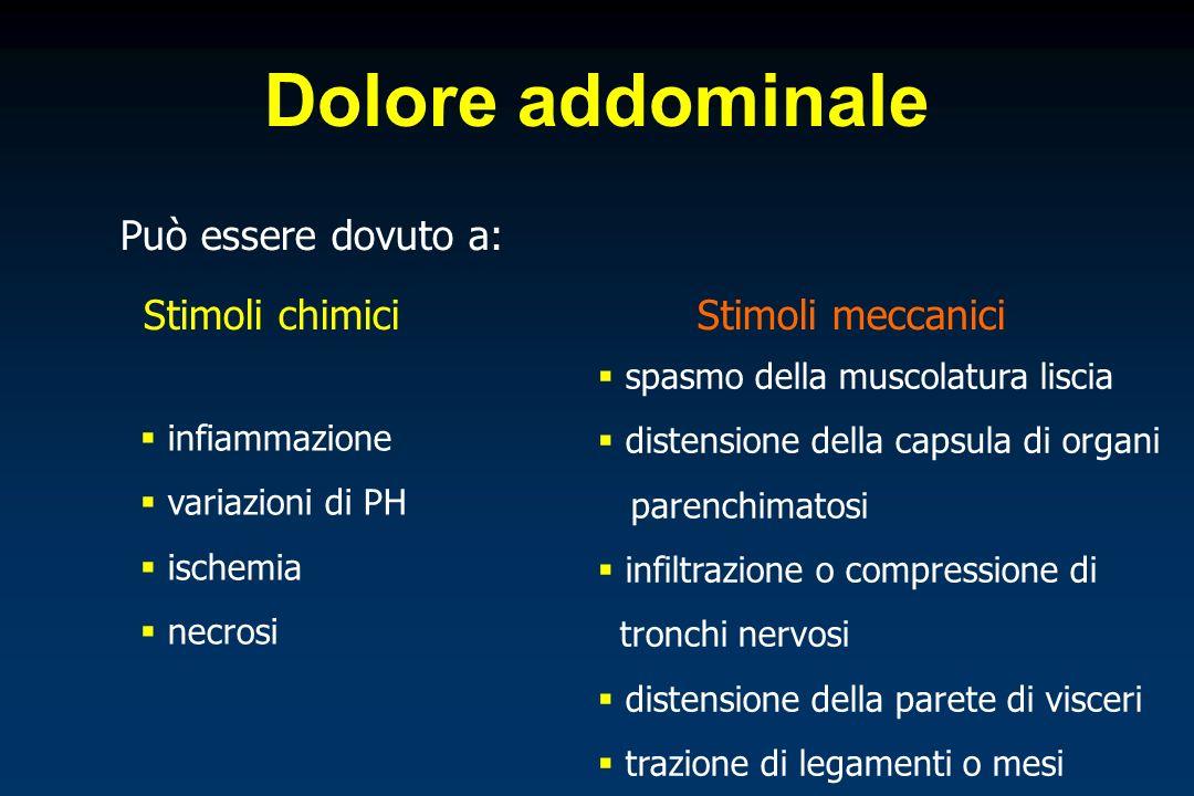 Dolore addominale In base allorigine dello stimolo doloroso e alle modalità di trasmissione ai centri nervosi, distinguiamo: Dolore viscerale Dolore parietale Dolore riferito