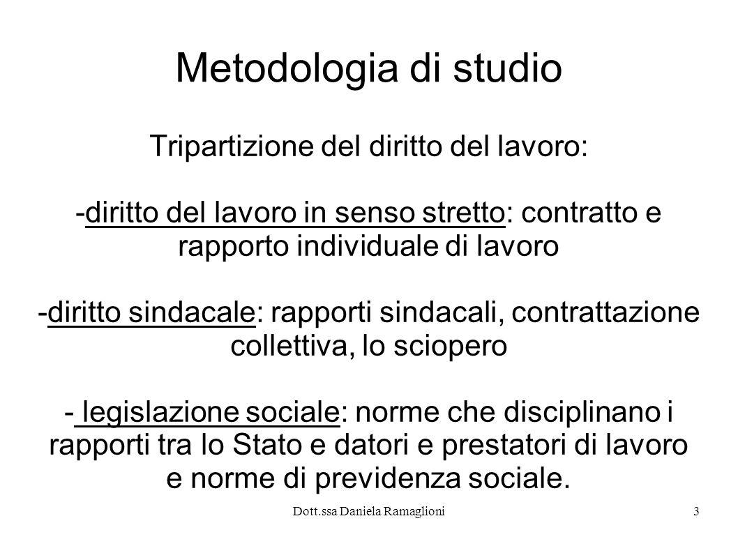 Dott.ssa Daniela Ramaglioni14 Le espressioni più importanti di questa evoluzione sono rappresentate dalla legge limitativa dei licenziamenti individuali (L.604/1966) e dallo Statuto dei Lavoratori (L.300/1970)