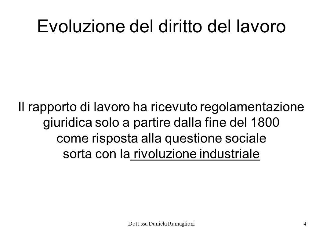 Dott.ssa Daniela Ramaglioni15 La vocazione quindi più antica e autentica del diritto del lavoro è quella di tutelare l uomo che lavora